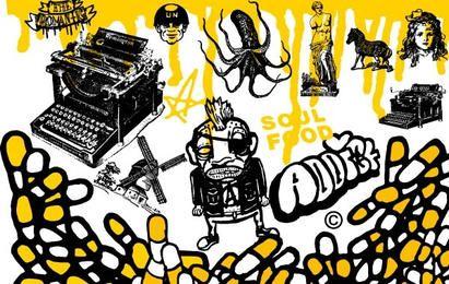 Vectores mixtos negros y amarillos