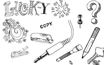 Set of hand drawn objects vectors