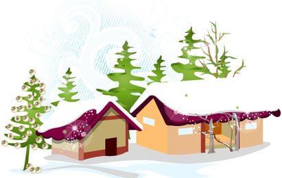 Vector casa nevada