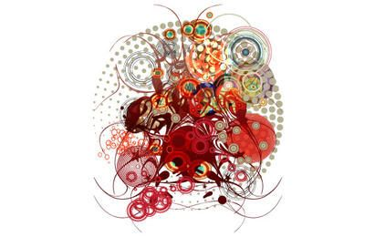 Arte abstracto de Swirly Vector rojo