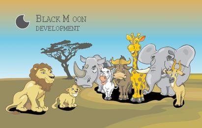 afrikanische Tiere Designset