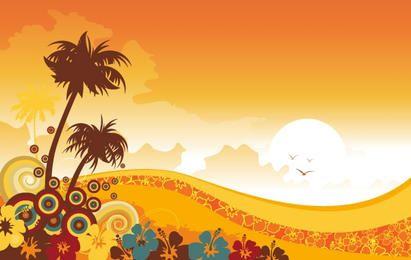 Pôr do sol com flores e redemoinhos