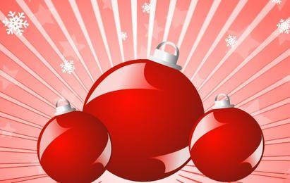 Bolas vermelhas, natal, 3d, ilustração