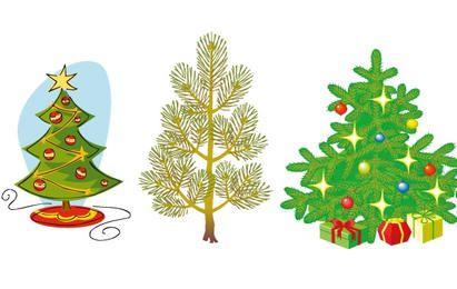 Conjunto de arboles de navidad