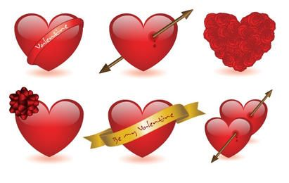 6 Valentine's hearts