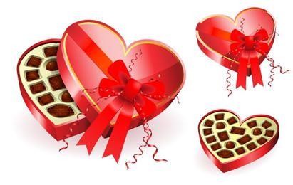 Caja de chocolates rojos en forma de corazón