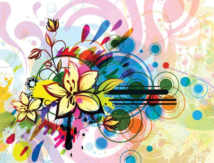 Colorful floral background with abstract shapes