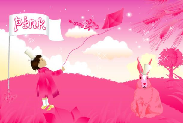 Paisaje de niña y conejo en rosa
