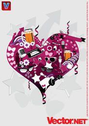 Vektor-Herz-Collagen-Grafik