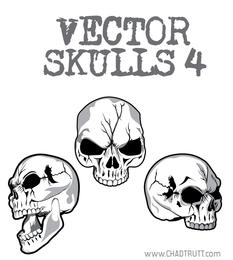 Vector de cráneos agrietados