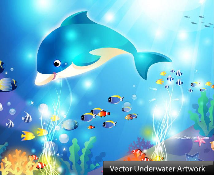 Vector Underwater Artwork With Dolphin and Fishes