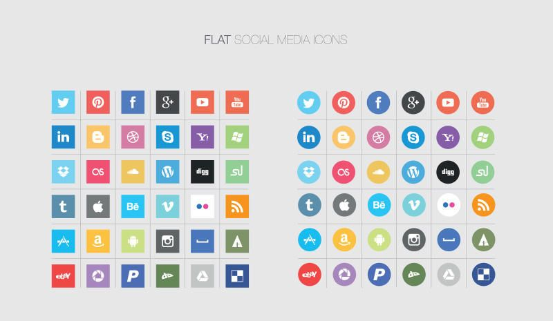 Free Quality Flat Social Media Icons - Vector download