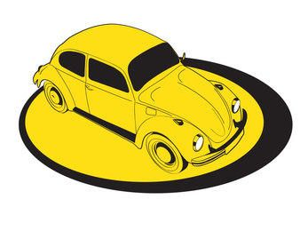 Free Yellow Volkswagen  Beetle Car Vector