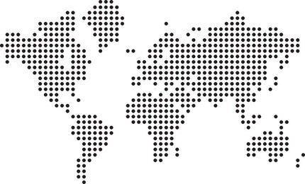 Halftone World map Free Vector