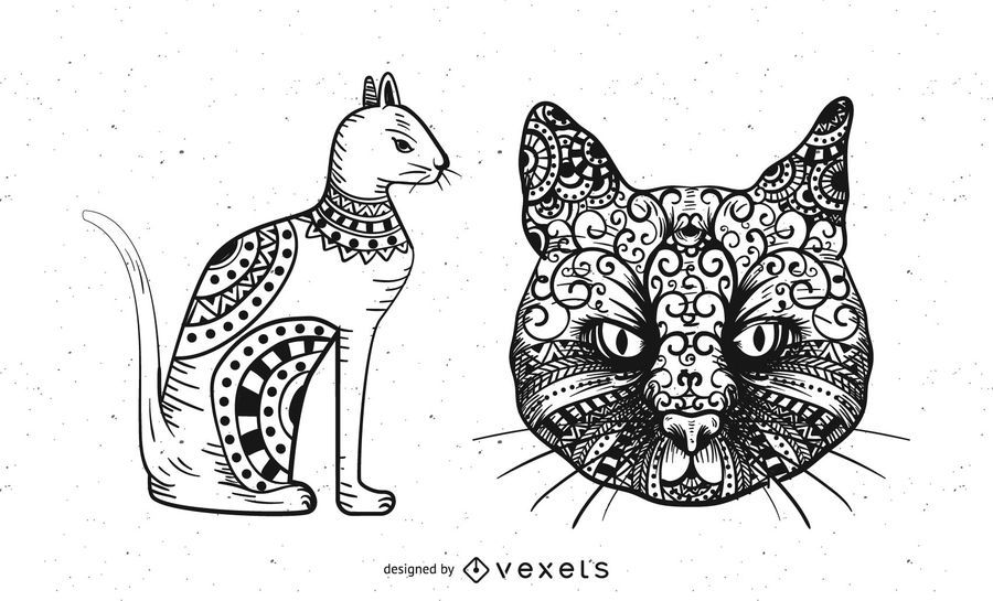 Tribal Cats Free Vector