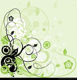 Gráfico de vetor abstrato de fundo floral redemoinho