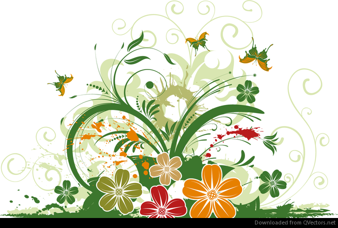 Abstract Floral with Butterfly Background Vector ...