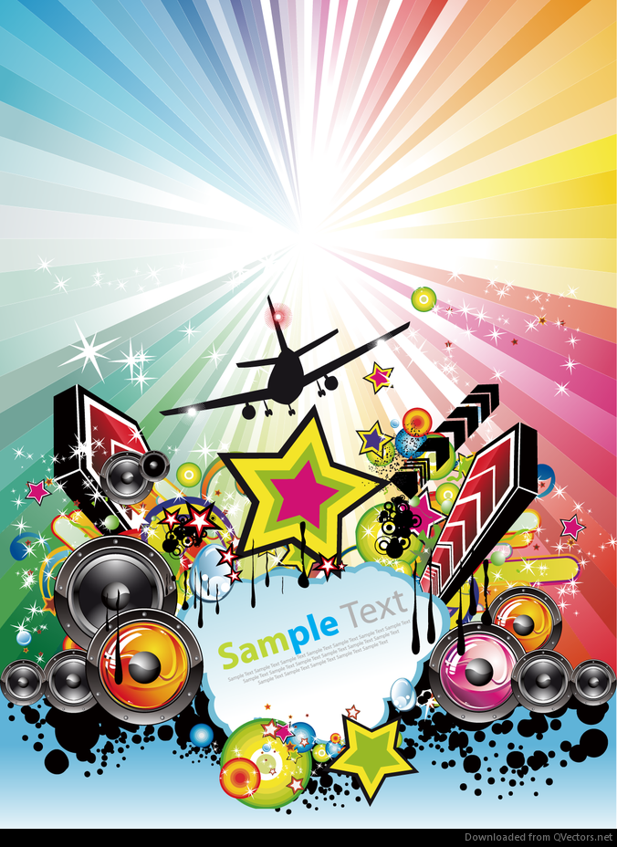 Abstract Rainbow Disco Music Poster Vector Download