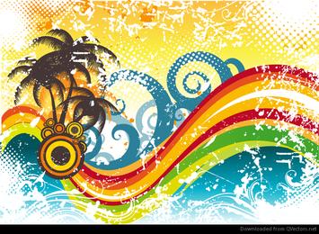 Ilustração abstrata do vetor de onda