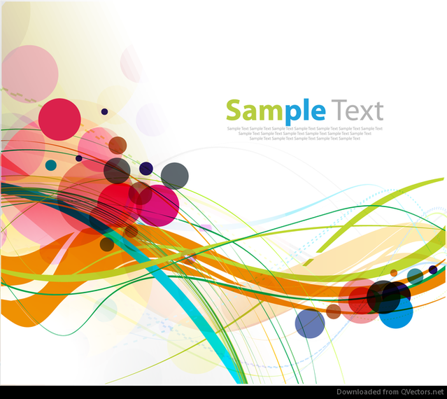 Abstract Colorful Rounds and Waves Background Vector Graphic ...