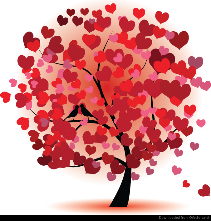 Abstract Love Tree Vector Graphic - Vector download