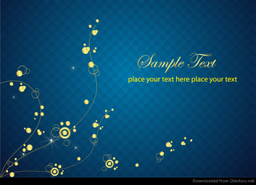 Fondo azul con abstracto floral Vector gráfico de oro