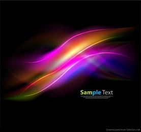 Onda colorida abstrata no gráfico de vetor de fundo escuro