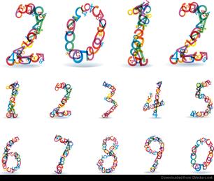 Números de arco-íris colorido abstrato