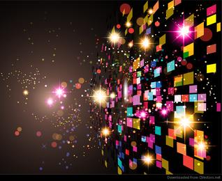 Fondo abstracto de color con cuadrados y brillo