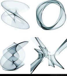4 gráficos abstractos de diseño vectorial de humo