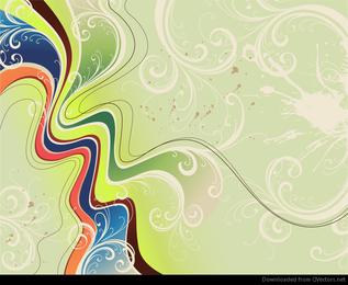 Vetor de fundo abstrato floral dinâmico