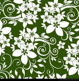 Ornamento floral abstracto sobre fondo verde