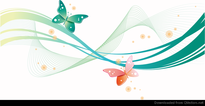 abstract wave with butterfly background vector download