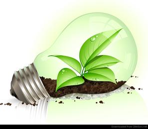 Light bulb with plant illustration
