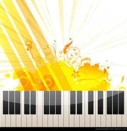 Piano Keyboard with Abstract Background