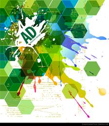 Resumen hexagonal con pintura Splat ilustración vectorial