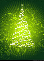 Abstract Floral Christmas Tree Vector Graphic