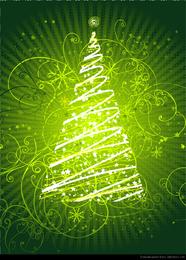 Resumen floral árbol de navidad Vector Graphic