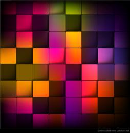Fondo geométrico abstracto con cuadrados de colores