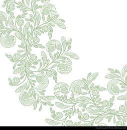 Resumen floral con lápiz verde Vector Graphic