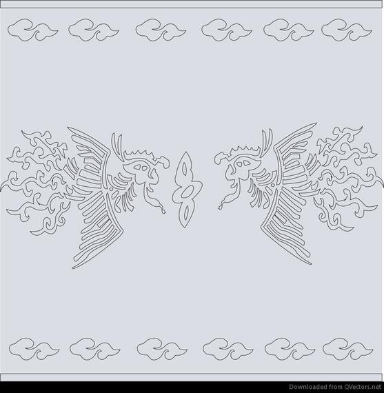 Chino clásico patrón vector phoenix abstracto