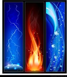 Fogo, iluminação e água