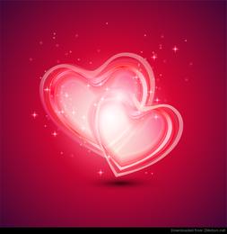 Fundo abstrato com dois corações para dia dos namorados