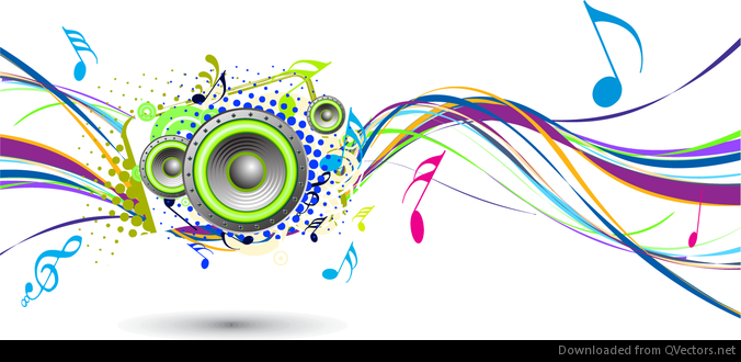 abstract rainbow wave with music node background vector