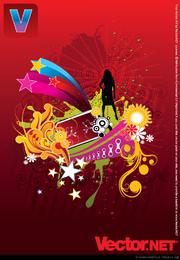 Silhueta de mulher Free Vector no fundo abstrato flor