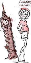 Ilustración de chica de Londres hecha a mano