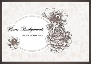 Marco oval blanco con flores.