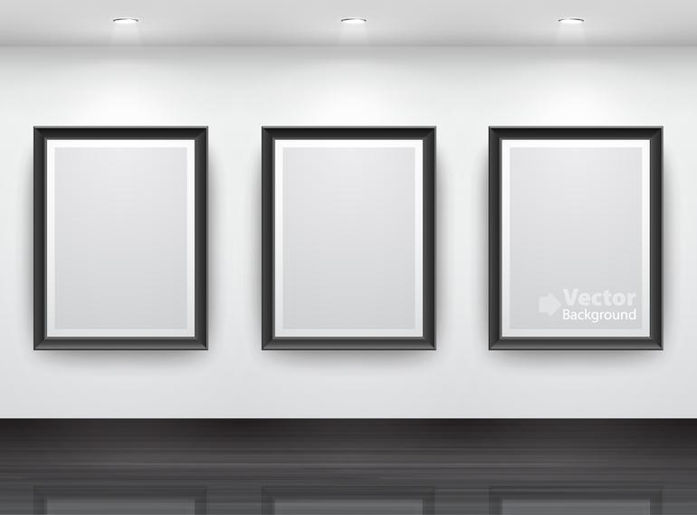 3 frames gallery mockup - Vector download