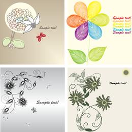 Set of 4 floral backgrounds