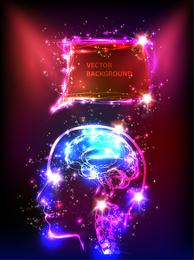 Design de cabeça brilhante com luzes de néon